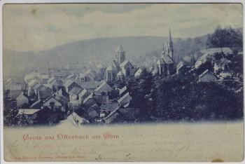 AK Gruss aus Offenbach am Glan Ortsansicht mit Kirchen 1902