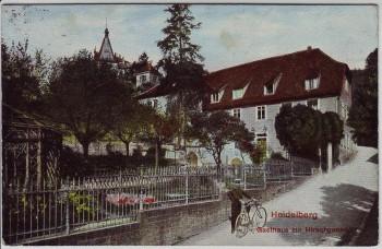 AK Heidelberg Gasthaus zur Hirschgasse mit Radfahrer 1914