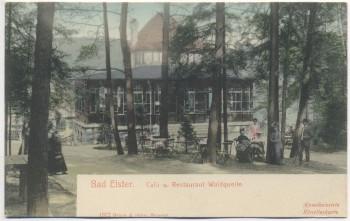 AK Bad Elster Cafe und Restaurant Waldquelle mit Menschen 1900