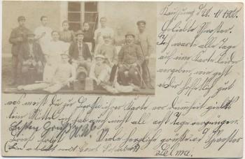 VERKAUFT !!!      AK Foto Ober-Kauffung Katzbach Gruppenfoto Arbeiter Wojcieszów Schlesien Polen 1900
