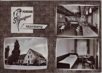AK Mehrbild Nürnberg Süd Pension Papageno Herpersdorfer Straße 1960