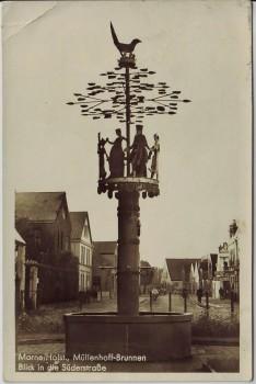 AK Foto Marne in Holstein Müllenhoff-Brunnen Blick in die Süderstraße 1940
