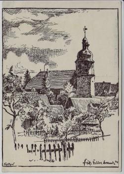 Künstler-AK Hattorf am Harz Lutherische Kirche 1960