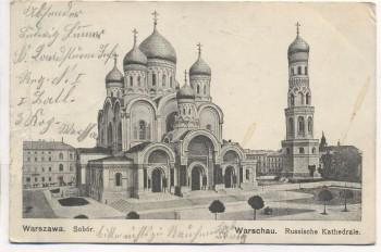 VERKAUFT !!!    AK Warschau Russische Kathedrale Warszawa Sobor Polen Feldpost 1915