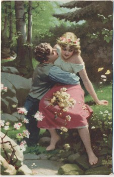 Künstler-AK Meister der Farbe Liebeswerben 1910