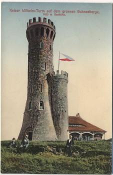 VERKAUFT !!!   AK Kaiser Wilhelm-Turm auf dem grossen Schneeberge mit Fahne und Menschen Glatzer Schneeberg b. Kłodzko Glatz Schlesien Polen 1920 RAR