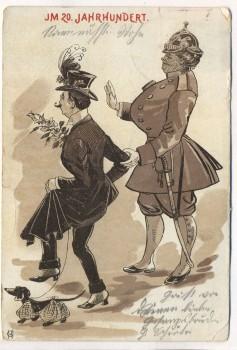 Künstler-AK Im 20. Jahrhundert Frau als Soldat Mann als Frau mit Rock und Spitz Jugendstil HG 1902