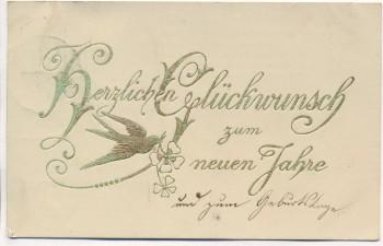Präge-AK Herzlichen Glückwunsch zum neuen Jahre Taube mit Kleeblatt Goldschrift 1911