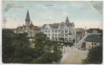 AK Leipzig Reformierte Kirche mit Promenade 1908