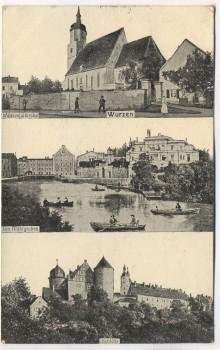 AK Wurzen 3 Bilder Wenzesleikirche Mühlgraben Schloss 1911