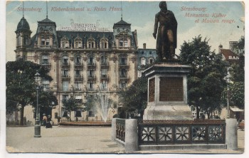 VERKAUFT !!!   AK Straßburg Strasbourg Kleberdenkmal u. Rotes Haus Elsass Bas Rhin Frankreich 1910