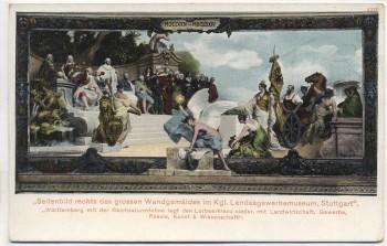 AK Stuttgart Seitenbild des Wandgemäldes im Kgl. Landesgewerbemuseum Württemberg mit der Reichssturmfahne 1900