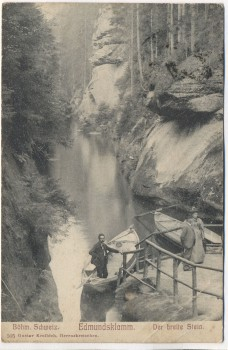 VERKAUFT !!!   AK Edmundsklamm Der breite Stein Böhm. Schweiz Boote mit Menschen b. Herrnskretschen Hřensko Tschechien 1905