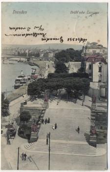 AK Dresden Brühl'sche Terrasse Soldatenkarte 1911