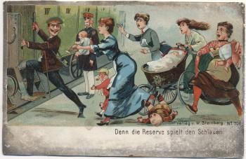 AK Denn Reserve spielt den Schlauen Soldat vor Frauen flüchtend Soldatenkarte 1911