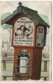 AK Scherzkarte Hier verunglückte an der ... Maß München 1912