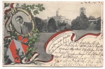 VERKAUFT !!!   AK Waldenburg Sachsen Schloss mit Wappen Fürst v. Schönburg 1903 RAR