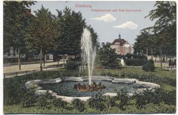 AK Eilenburg Südpromenade und Real-Gymnasium Feldpost 1915