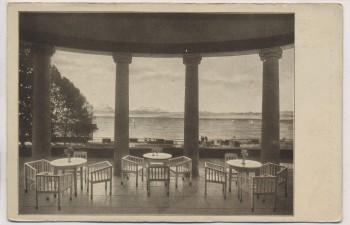 VERKAUFT !!!   AK Friedrichshafen Bodensee Kurgarten-Hotel Blick von der Terrasse auf den See und die Alpen 1920