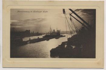 VERKAUFT !!!   Präge-AK Hamburg Abendstimmung im Hamburger Hafen 1910