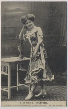 AK Elli Hake Soubrette Variete u. Possen-Ensemble Fidele Sachsen Dresden 1912