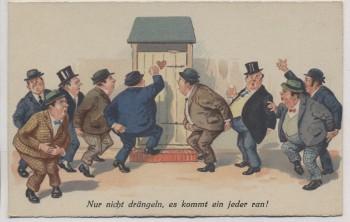 AK Scherzkarte Nur nicht drängeln Männer vor Toilette 1915