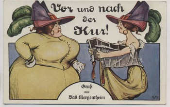 VERKAUFT !!!   AK Scherzkarte Gruß aus Bad Mergentheim Vor und nach der Kur 1910