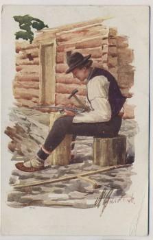 AK Trachten Oesterr. Ungarische Volkstypen Sensenreparatur 1912
