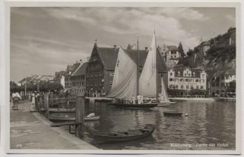 VERKAUFT !!!   AK Foto Meersburg am Bodensee Partie am Hafen mit Hotel Seehof Segelschiff 1935