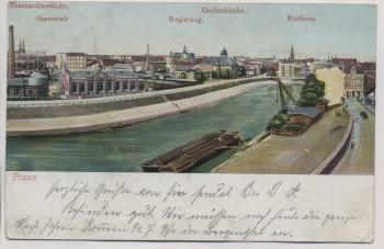 VERKAUFT !!!   AK Posen Poznań Ortsansicht mit Warthe Gasanstalt Rathaus Grabenkirche Polen 1906