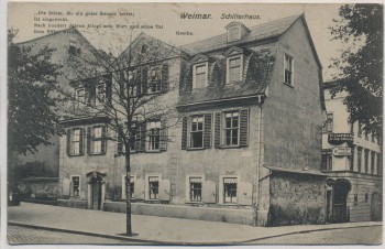 AK Weimar Schillerhaus mit Gedicht Goethe 1915