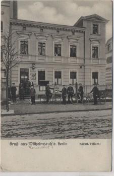 AK Gruß aus Wilhelmsruh b. Berlin Kaiserl. Postamt Postboten mit Fahrrad Feldpost 1917 RAR