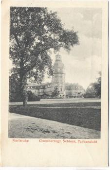 AK Karlsruhe Grossherzogl. Schloss Parkansicht 1910