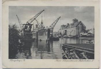 VERKAUFT !!!   AK Königsberg Kaliningrad Neuer Silospeicher am Hafenbecken IV mit Schiff Vogesen Ostpreußen Russland 1941