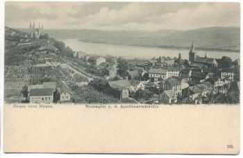 VERKAUFT !!!   AK Gruss vom Rhein Remagen mit Apollinariskirche 1904