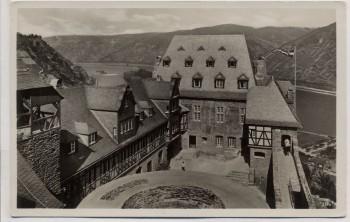 AK Foto Stahleck Deutsche Jugendburg am Rhein Innenhof mit Fahne Bacharach 1940