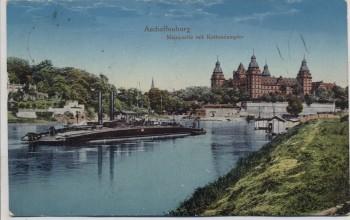 AK Aschaffenburg Mainpartie mit Kettendampfer Feldpost 1916