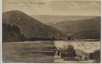 AK Panorama v. d. Schmücke aus gesehen Sachsenstein Hotel u. Pension b. Gehlberg Thüringen 1912