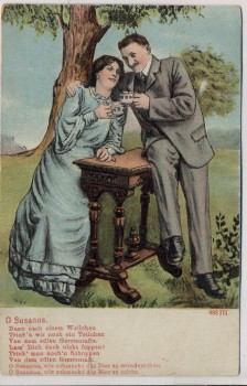 AK Liedkarte O Susanne Mann und Frau trinkend Jugendstil 1907