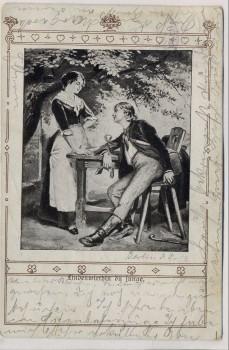 Künstler-AK Lindenwirtin du junge Mann und Frau Jugendstil 1903