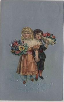 Künstler-AK Präge 2 Kinder mit Blumenstrauß 1909