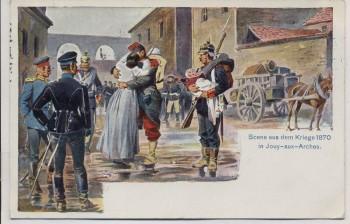 Künstler-AK Jouy-aux-Arches Szene aus dem Krieg 1870 Soldaten 1912