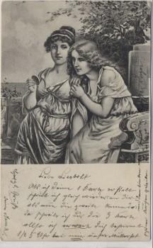 Künstler-AK Jugendstil 2 Damen mit Spiegel 1904
