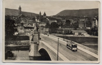 VERKAUFT !!!   AK Foto Jena Camsdorfer Brücke mit Straßenbahn 1939