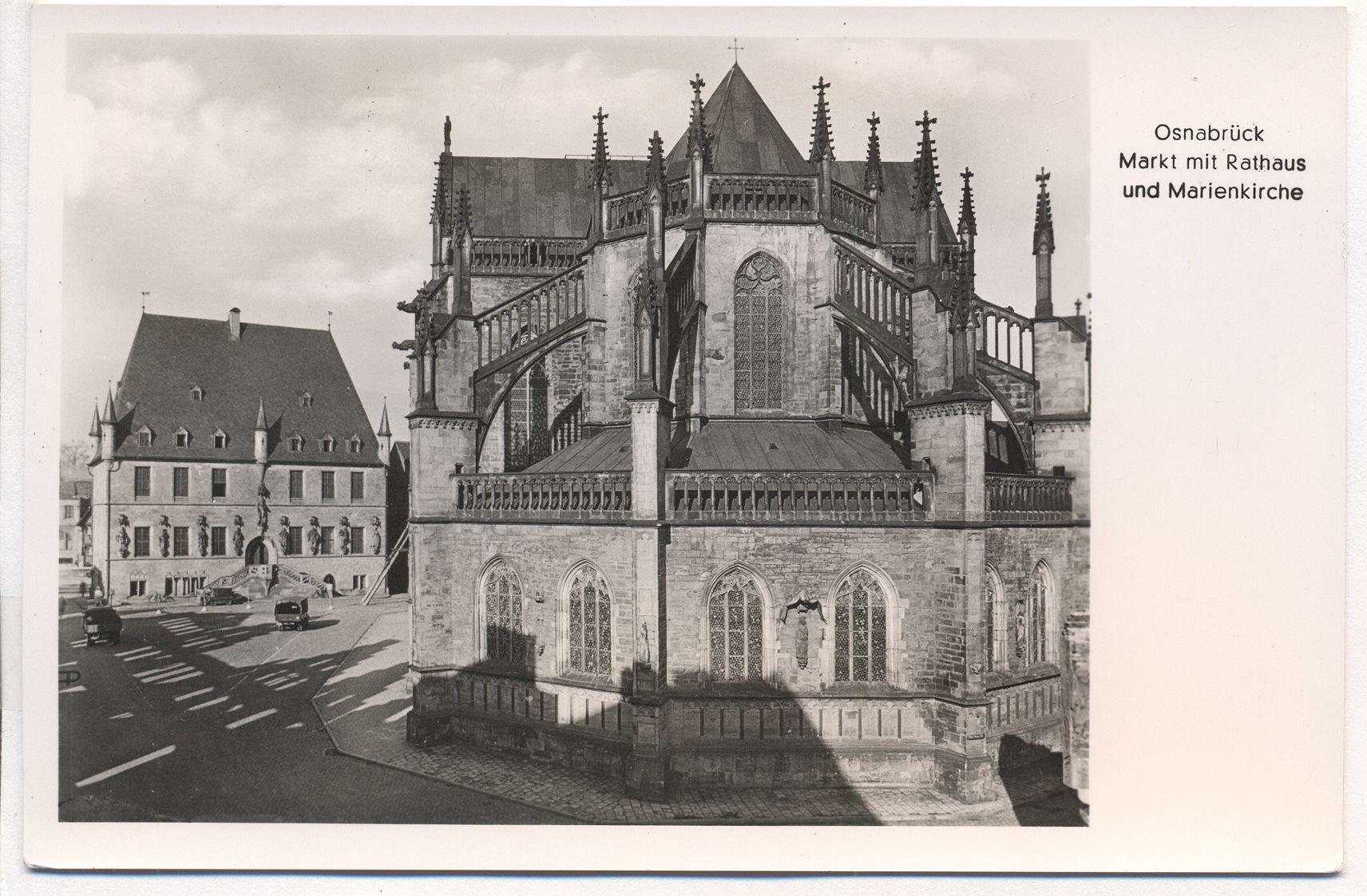 ak foto osnabr ck markt rathaus marienkirche ansichtskarte markt kaufen. Black Bedroom Furniture Sets. Home Design Ideas
