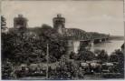 AK Foto Mainz Obere Eisenbahnbrücke mit Zug Weinfasswagen 1920