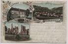 Litho Gruss aus Stecklenberg im Harz Gasthaus zum Grünen Walde bei Thale 1900