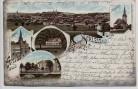 Litho Gruss aus Schleiz Ortsansicht Bergkirche Eremitage Rathaus ... 1901