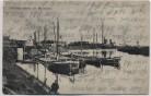 AK Rheinau-Hafen bei Mannheim mit Schiffen 1920