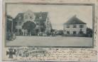 AK Gruss aus Lechhausen Augsburg Gastwirtschaft zum Eisernen Kreuz viele Menschen 1903 RAR